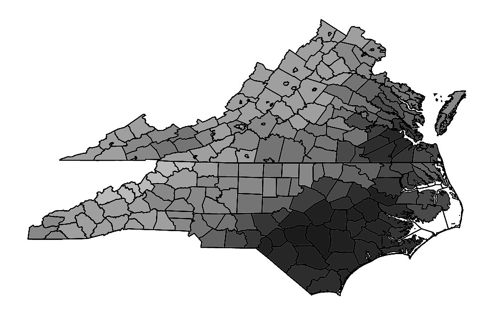 map of species density of hylid frogs in NC and VA